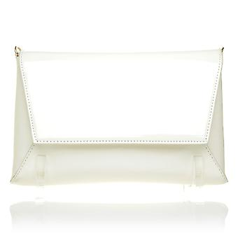 DUBAI White Patent PU Leather Sleek Envelope Style Ladies Clutch Bag