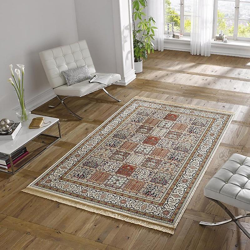 design teppich viskose mit fransen precious creme rot fruugo. Black Bedroom Furniture Sets. Home Design Ideas