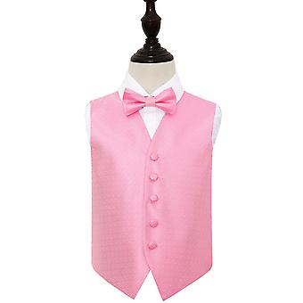 Baby Pink Greek Key Wedding Waistcoat & Bow Tie Set for Boys