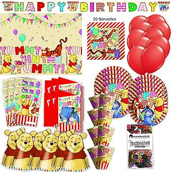 Winnie Puh Party Set XL 73-teilig für 6 Gäste Winnieparty Geburtstag Deko Partypaket