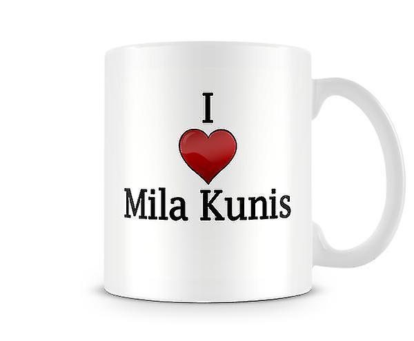 Me encanta Mila Kunis taza impresa