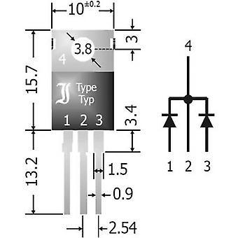 Schottky diode array bridge 20 A Diotec SBCT2040 SIP 3 Array - 1 pair, common cathodes