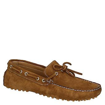 Light brown suede leather men's driving moccasins