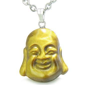 Amulett glücklich lachende Buddha Glücksbringer Tiger Auge Edelstein Evil Eye Protection Anhänger Halskette