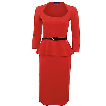 Ladies langermet belte Peplum kneet lengde Frill Bodycon Women 's Dress