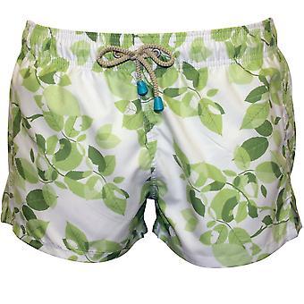Oiler & Boiler Chevy Short Leaf Print Swim Shorts, White/Green