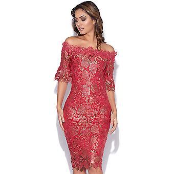 Metallic Berry Crochet Lace Dress