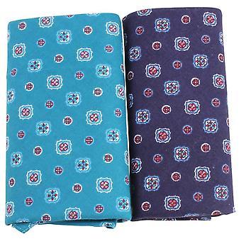 David Van Hagen Classic Medallion Handkerchief Set - Blue/Teal