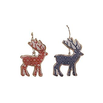 Sasse & Belle Set of 2 Metal Hanging Reindeer Decorations