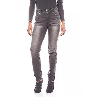 B.C.. best connections Push-Up of skinny jeans with Rhinestone strips anthracite