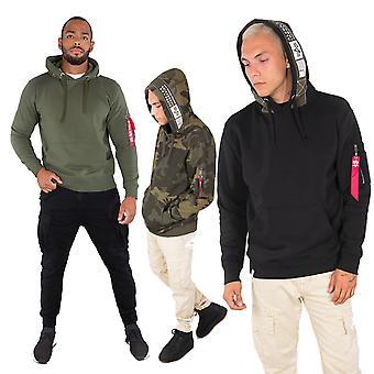 Alpha industries men's Hooded sweater printed tape
