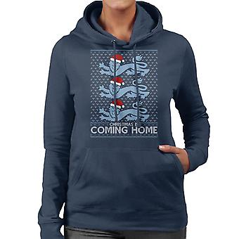 Christmas Is Coming Home The Lions England Football Women's Hooded Sweatshirt