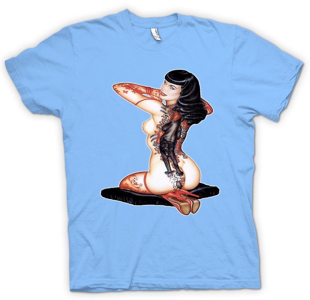 Heren T-shirt-kat en muis Vintage ee
