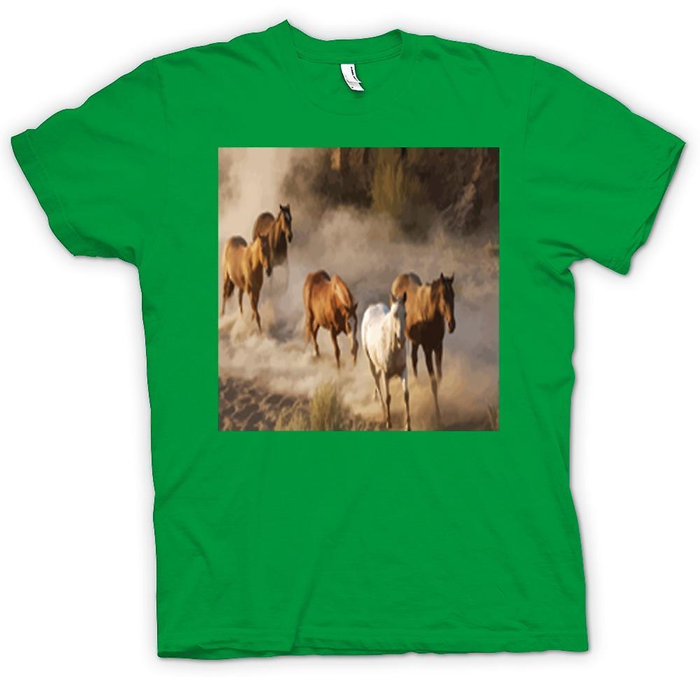 Camiseta para hombre-diseño de pradera de caballos en estampida
