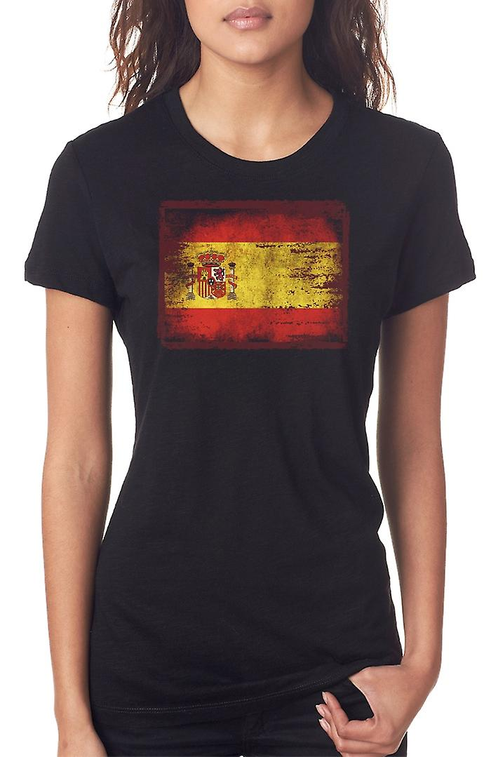 Spanish Sapin Grunge Flag Ladies T Shirt