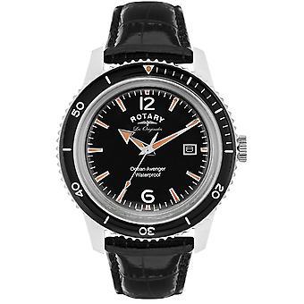 Rotary Ocean Avenger Black Leather Strap Mens GS90095/04 40mm