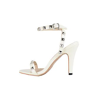 Lovemystyle Studded Barely There Patent Heels In Beige