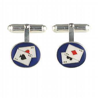 Silver 14x12mm oval Poker swivel Cufflinks
