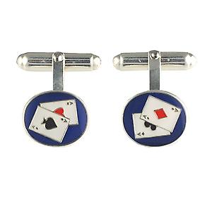 Silver 14x12mm oval Poker swivel Cufflinks