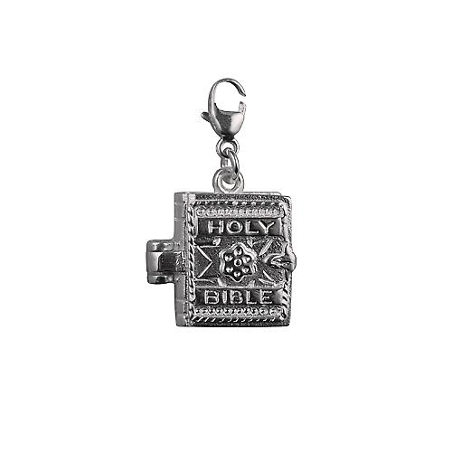 Silver 15x17mm moveable Bible Charm with the Lord's Prayer inside on a lobster trigger