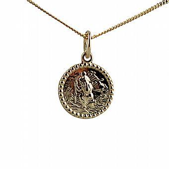 9ct gull 13mm runde St Christopher anheng med en fortauskant kjeden 20 inches bare egnet for barn