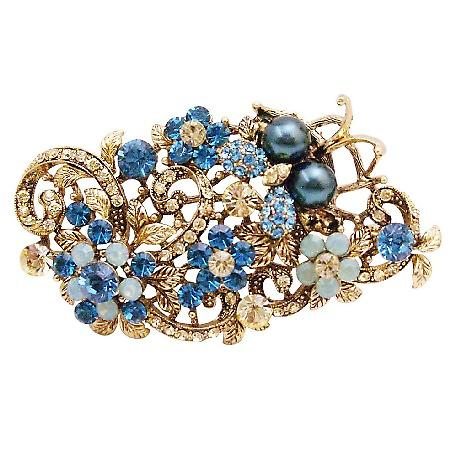 Exquisite Marvelous Brooch Indicolite Jonquil Crystals Boquet Brooch