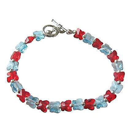 Aquamarine Siam Red Butterfly Genuine Swarovski Crystal Butterfly Handcrafted Custom Jewelry