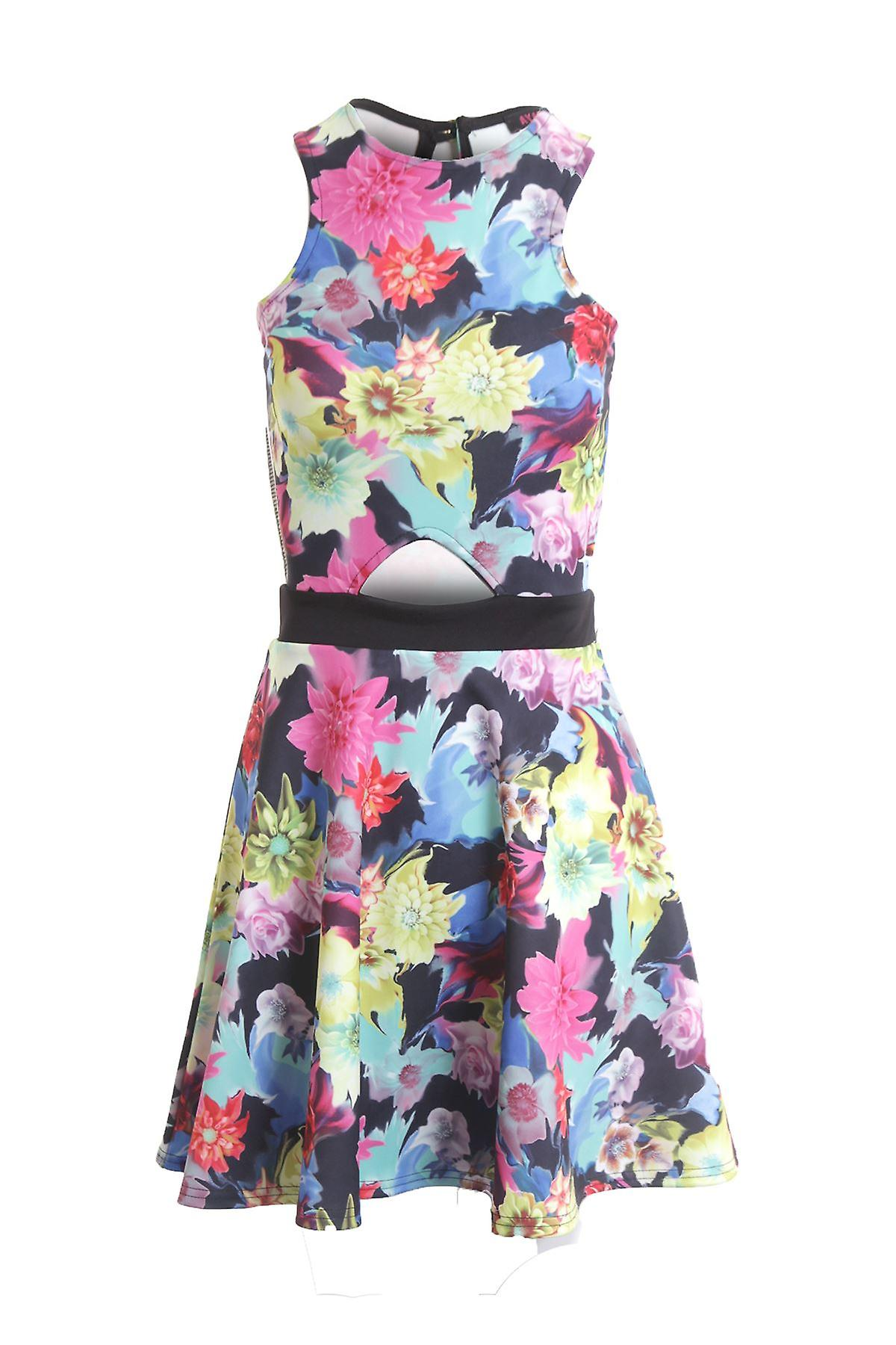 Ladies Sleeveless Front Cut Out Floral Print Women's Skater Dress