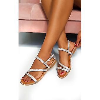 IKRUSH Womens Onyx Diamante embelezado sandálias