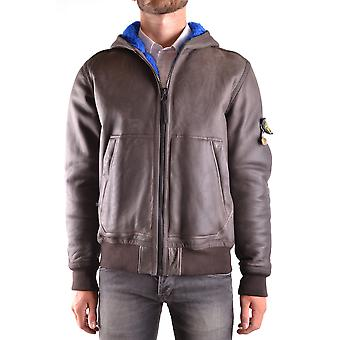 Stone Island Brown Leather Outerwear Jacket
