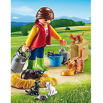 País de Playmobil mujer con familia gato