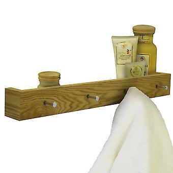Ellis - madeira montado 2ft / 60cm flutuante prateleira de parede com 4 ganchos - Carvalho