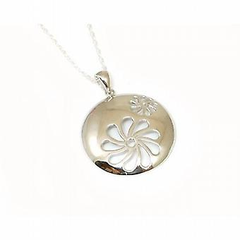 Jsuk Sterling Silver Circle Flower Pendant on 18 Inch Chain