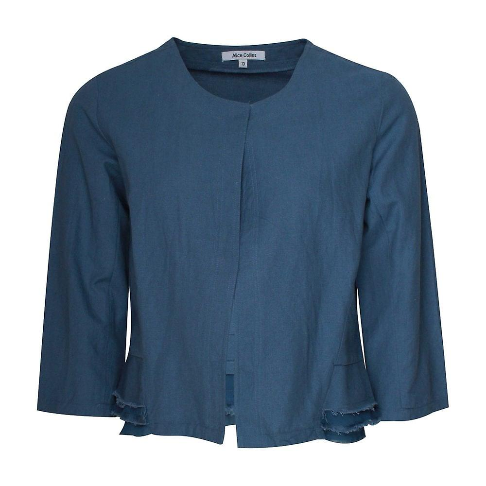 Alice Collins Linen 3 4 Sleeve Cropped Jacket
