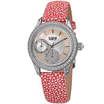 Burgi Women's BUR160PK Multi-Function Mother-of-Pearl Dial with Textured Leather Strap Watch
