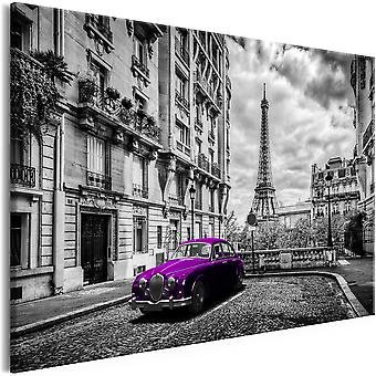Canvas print-auto in Parijs (1 deel) Violet breed