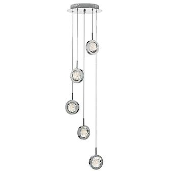 Livia 5lt Cluster Led Pendant Polished Chrome & Glass Spheres