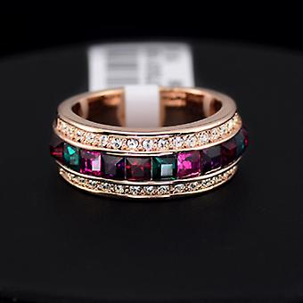 18K Gold Plated Square Multicolor Crystal Ring
