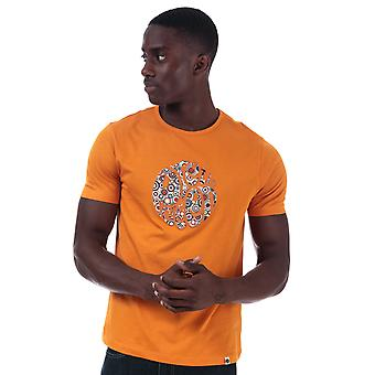 Mens Pretty Green Target Applique Logo T-Shirt in Orange