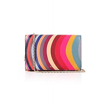 Paul Smith Womens Swirl Leather Clutch Bag With Chain