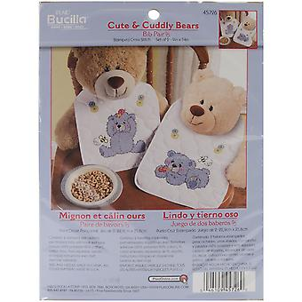 Cute & Cuddly Bear Bib Pair Stamped Cross Stitch Kit 9