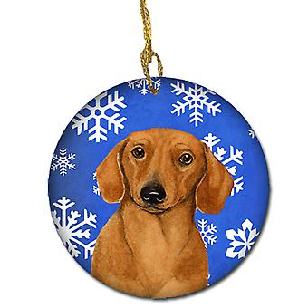 Dachshund Winter Snowflake Holiday Ceramic Ornament LH9267