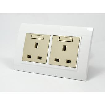I LumoS AS Luxury White Plastic Arc Double Switched Wall Plug 13A UK Sockets