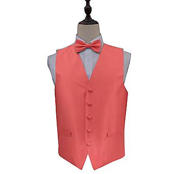 Solid Check Coral Wedding Waistcoat & Bow Tie Set