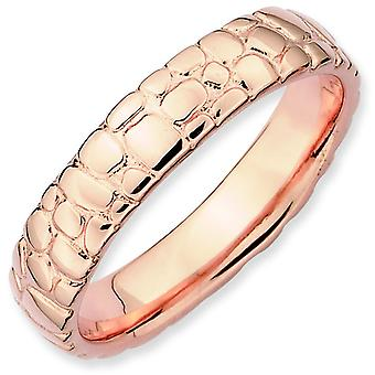 Sterling Silver Stackable Expressions Pink-plated Ring - Ring Size: 5 to 10