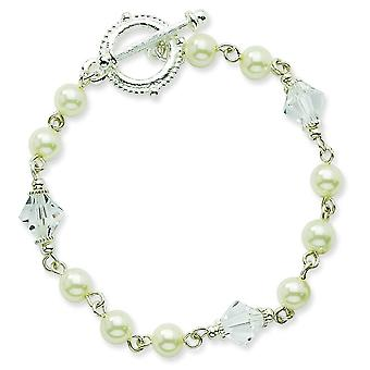 Silver-tone Cultura Glass Pearl and Crystal Toggle Bracelet