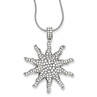 Sterling Silver and CZ Sun Necklace - 18 Inch