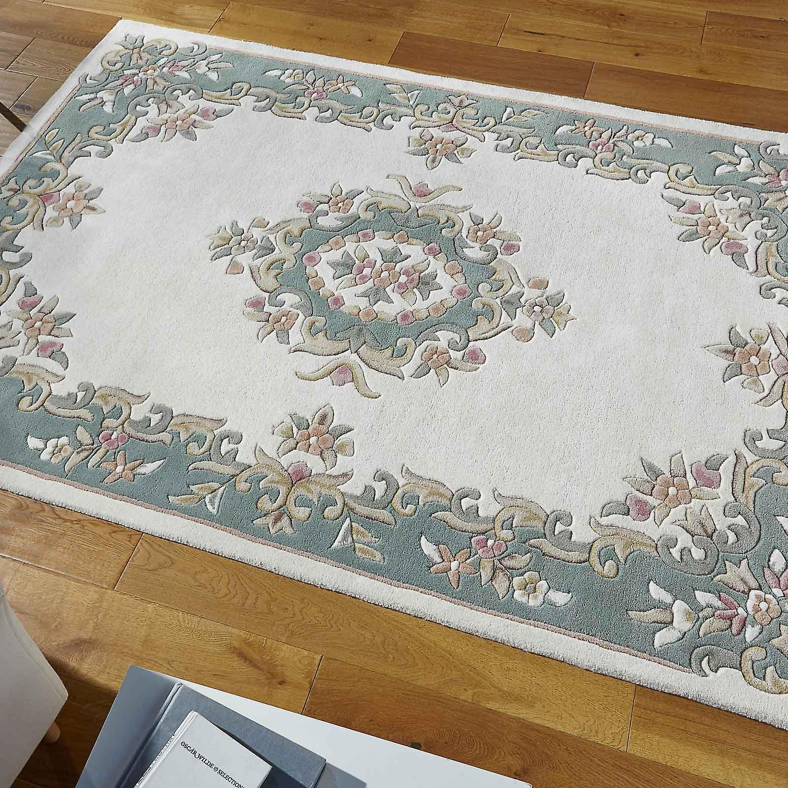 Royal Aubusson Wool Rugs In Cream Green