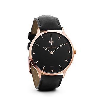 Nick Cabana Nilaya suit mens watch black leather strap watch