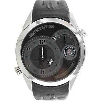 Police mens watch wristwatch leather analog PL. 14195JS/02